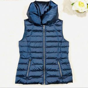 Lands End Sleeveless Navy Quilted Down Puffer Vest